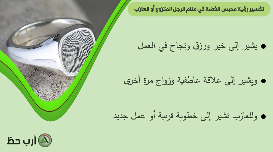 الدبلة الفضة أو المحبس الفضة في المنام للرجل المتزوج أو العازب